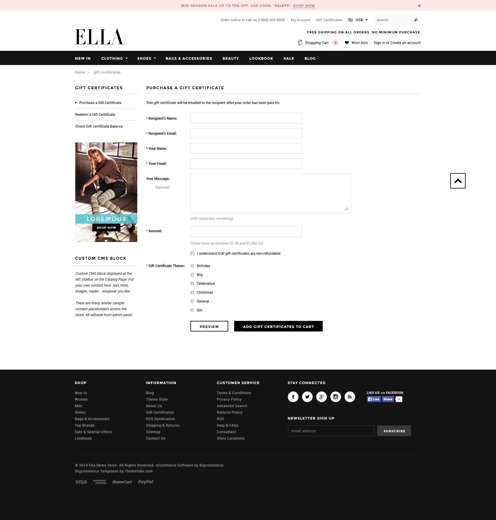 Ella Premium Responsive Bigcommerce Template Stencil Ready