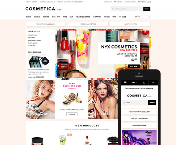 Cosmetica - Premium Responsive Bigcommerce Template: Initial Release