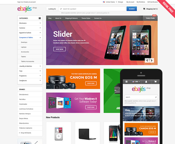 Ebajes - Free Responsive Bigcommerce Template: Initial Release