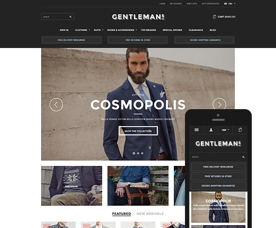 Gentleman - Premium Responsive Bigcommerce Template: Initial Release