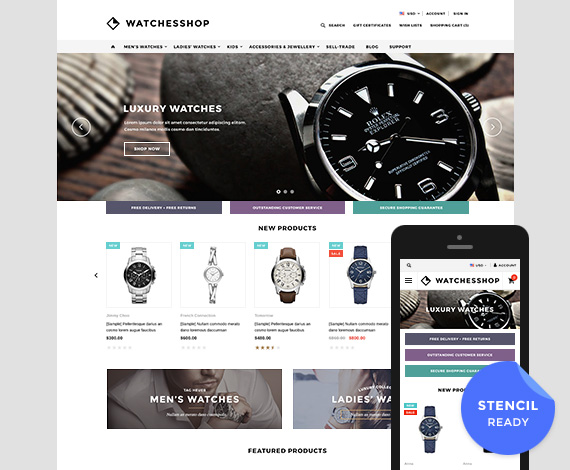 The Watches Shop - Premium Responsive Bigcommerce Template (Stencil Ready): Initial Release