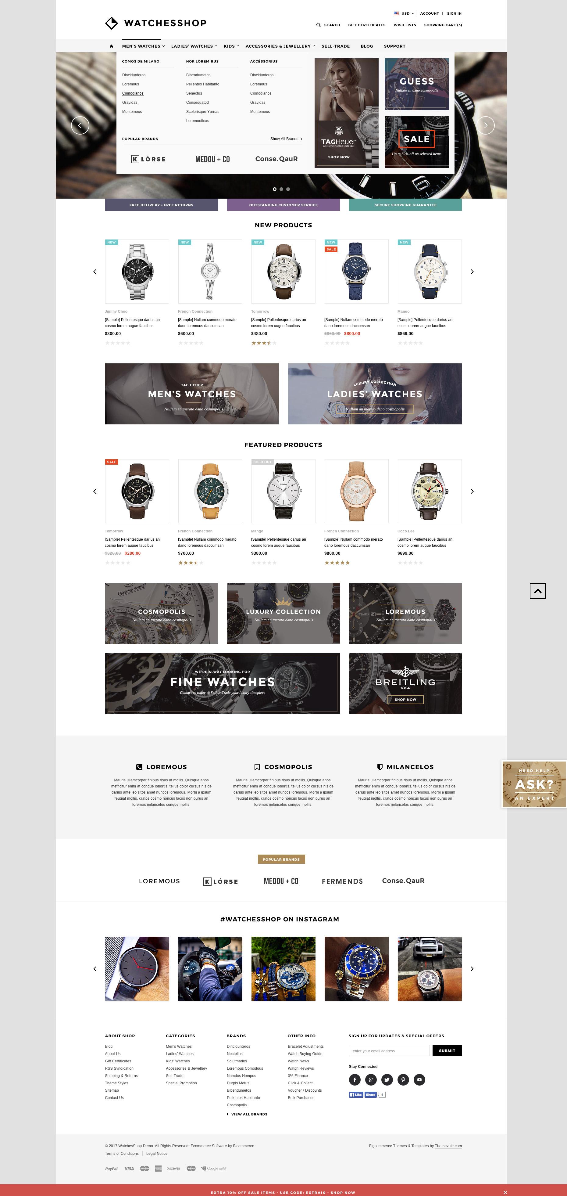 The Watches Shop - Premium Responsive Bigcommerce Template (Stencil ...