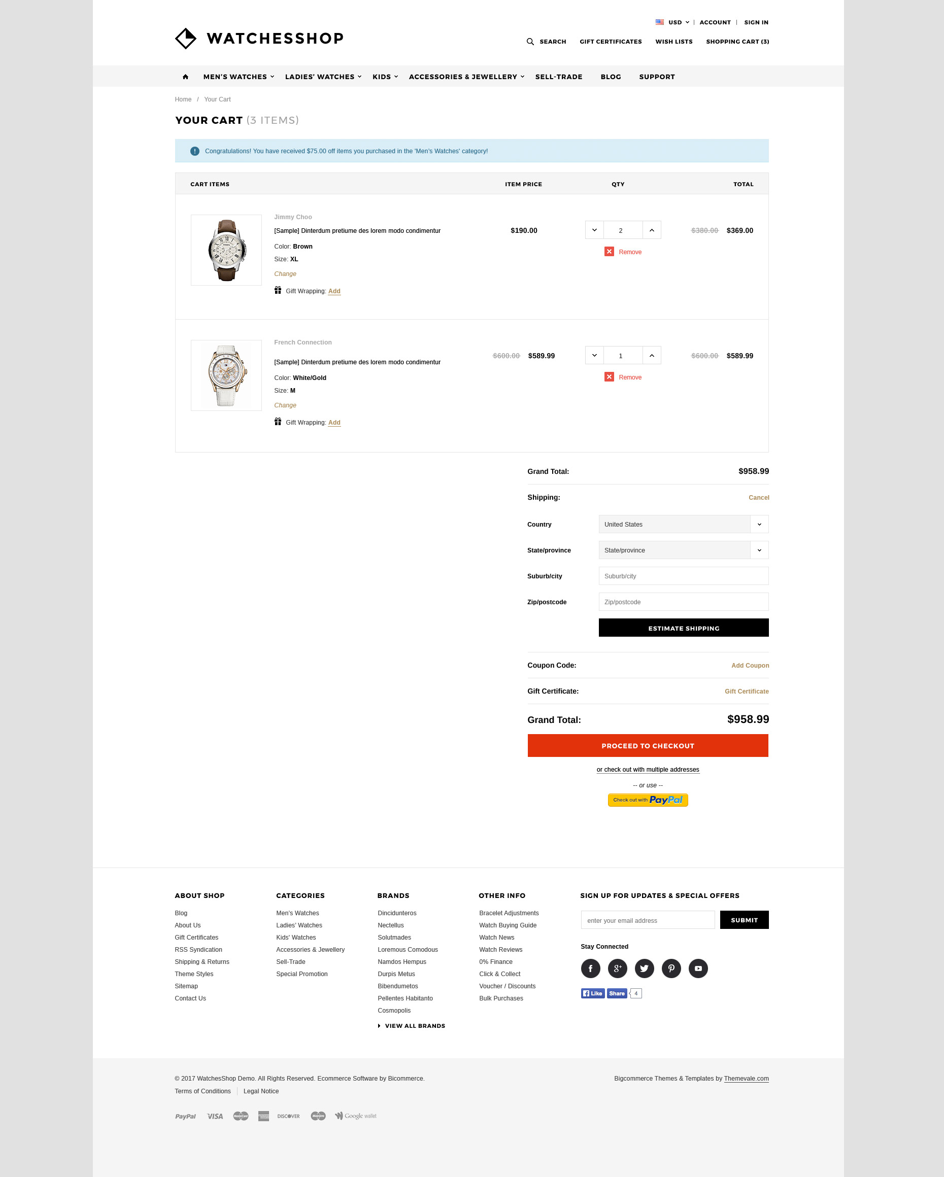 The Watches Shop Premium Responsive Bigcommerce Template Stencil - Responsive shopping cart template