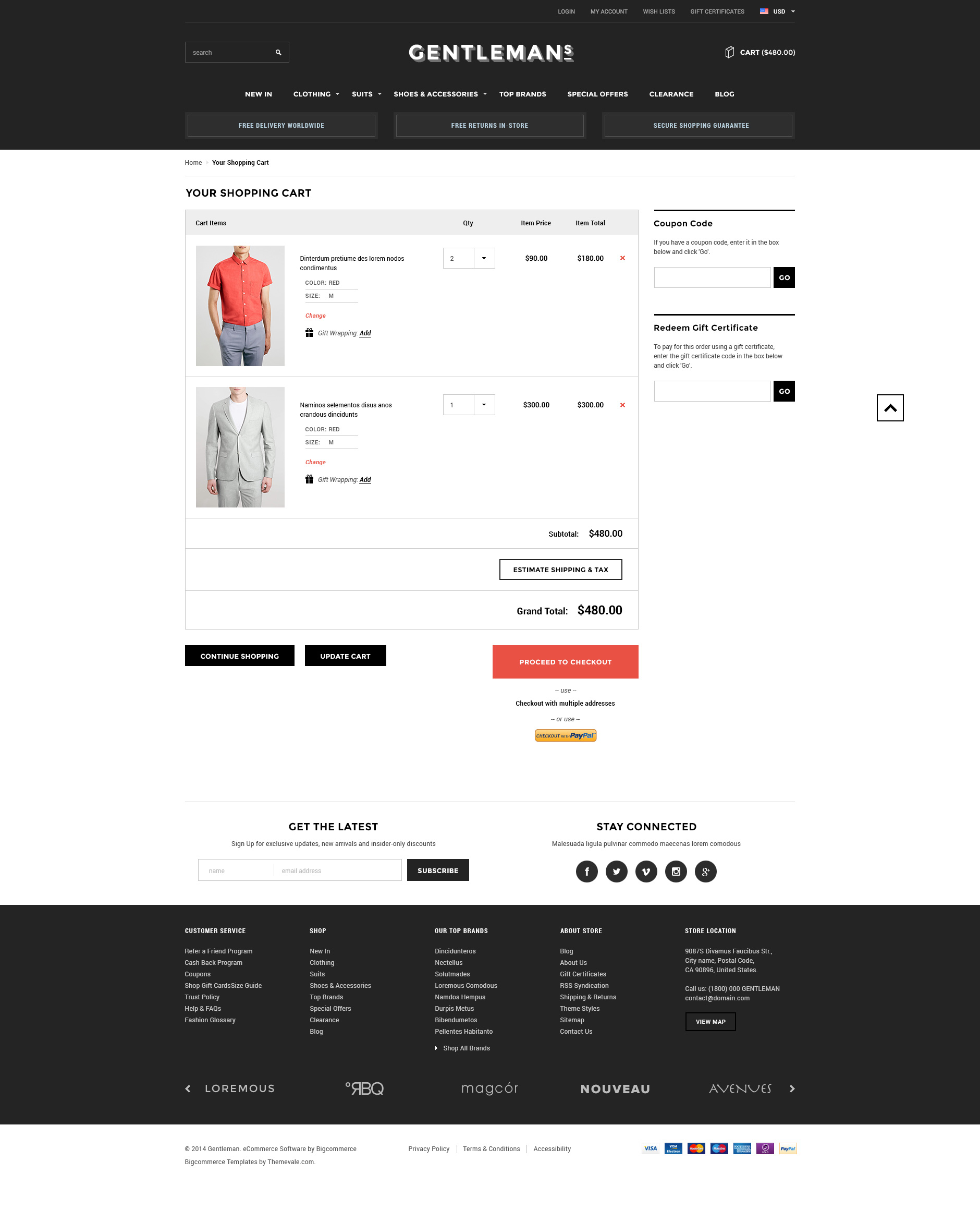 Gentleman Premium Responsive Bigcommerce Template ThemeValecom - Responsive shopping cart template
