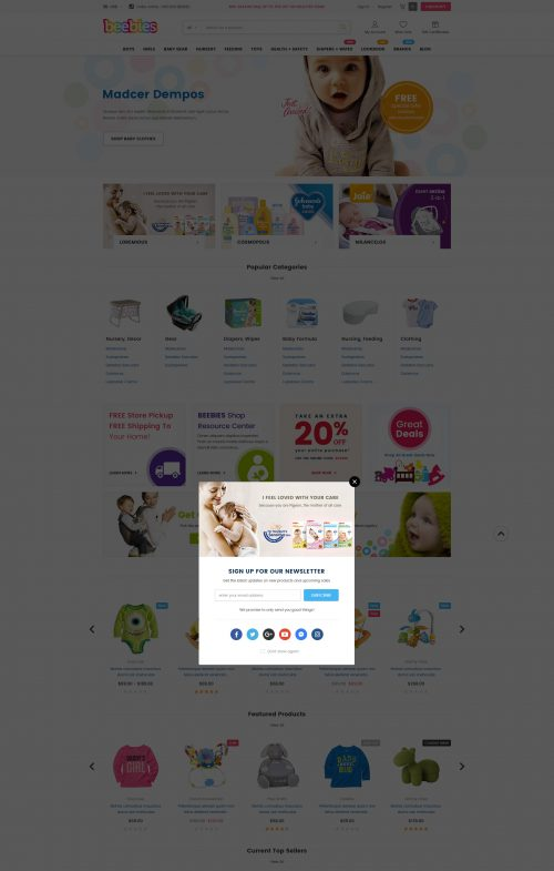 Beebies - Premium Responsive Baby Store Bigcommerce Template (Stencil Ready)