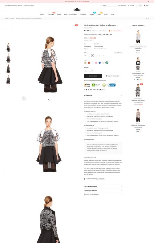 ELLA 2 – Premium Responsive Fashion BigCommerce Template (Stencil Ready)