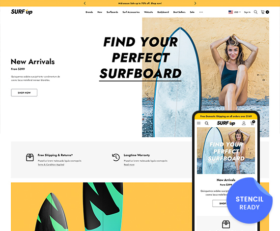 SURF Up - Surfing and Water Sports BigCommerce Stencil Template